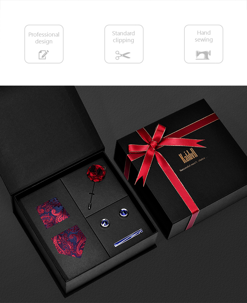 Tie Cufflinks Handkerchief Clip Set Red Pocket Square Bow Tie Set with Luxury Box