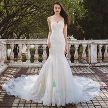 Sexy Mermaid Long Train Wedding Dress Sweet Heart Neckline Bridal Gown For Women