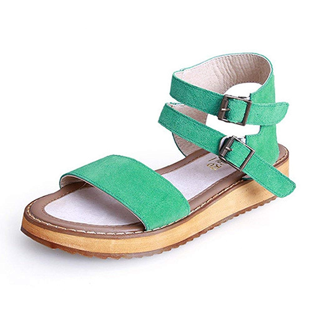 2330da84e2733 Get Quotations · Zarbrina Womens Platform Flat Strappy Sandals Slip on  Ankle Strap Cork Buckle up Gladiator Casual Shoes