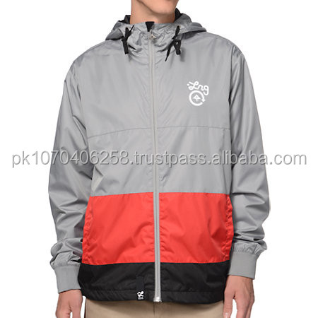 wind breaker custom made unisex winter jacket available in all sizes and different colors. custom made racing jacket gray/red