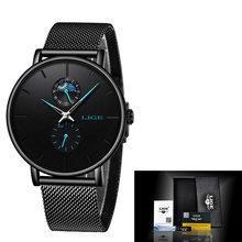 Женские кварцевые часы LIGE, модные, водонепроницаемые, из нержавеющей стали(China)