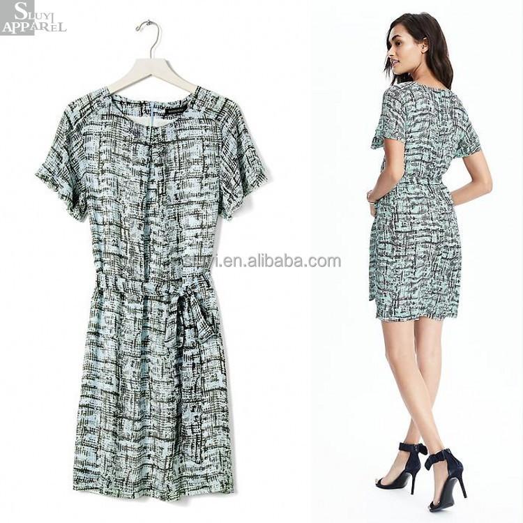 75876bd1d0443 لطيفة تحقق مطبوعة الذاتي الخصر التعادل اللباس للمرأة الأنيقة فساتين  بالتواصل ، جديد الأزياء ثوب المرأة