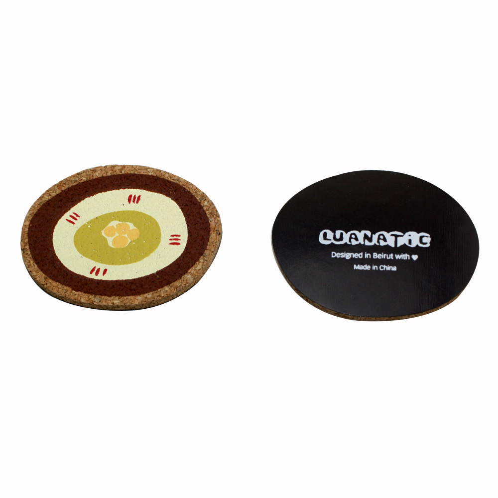 silk screen printing round shaped cork magnet board