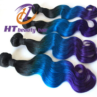 Brazilian Omber natural color 1B and green and purple color body wave Better quality