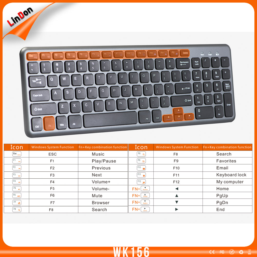 Classic slim 2.4g wireless keyboard and mouse combo for laptop desktop