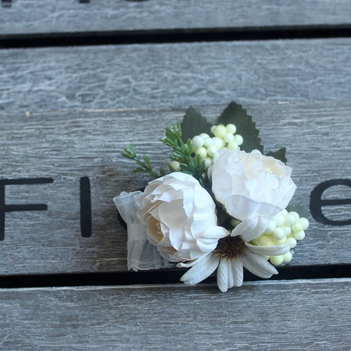 White Bridal Hand Corsage Wedding Wrist Corsage Wholesale