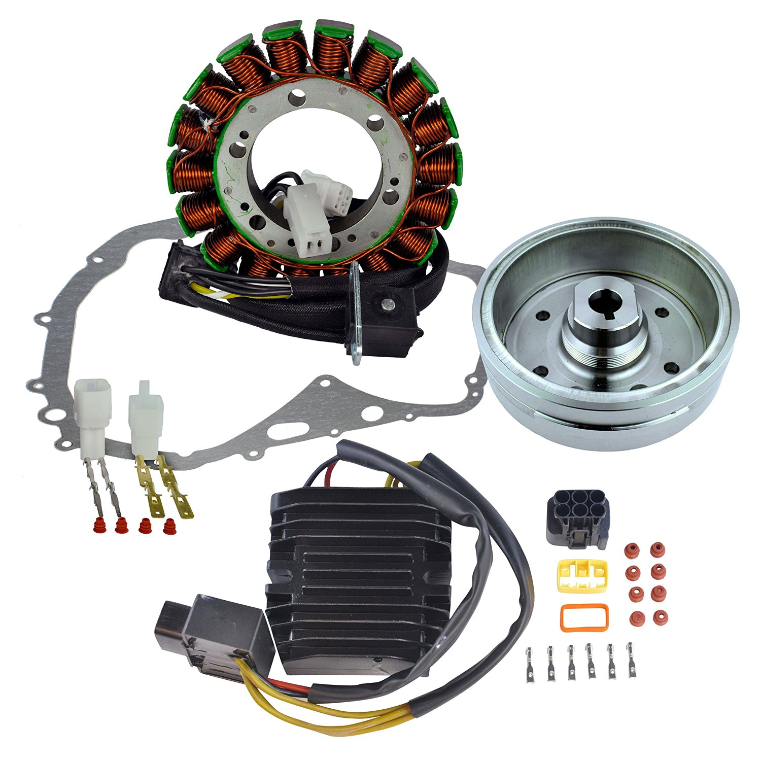 Kit Stator + Improved Flywheel + Mosfet Regulator Rectifier + Crankcase Cover Gasket For Suzuki LTF 400 Eiger 2002 2003 2004 2005 2006 2007