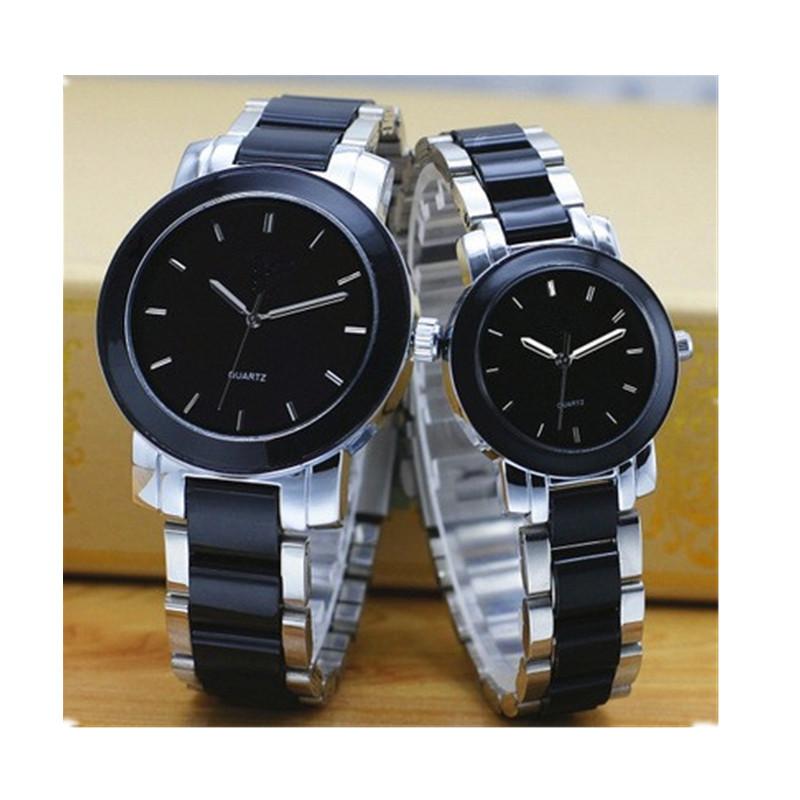 Hot fashion couple ceramic watch, vogue alloy case quartz pair watch, popular wholesale crystal face ceramic watch