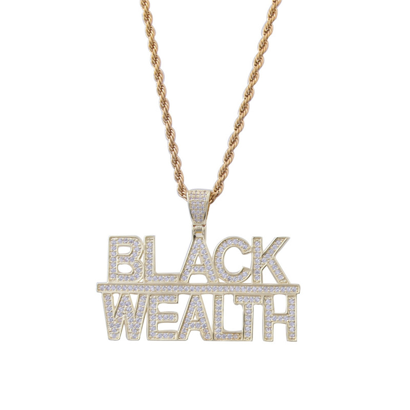 New Fashion 2 Rows Custom Letter Micro Cubic Zircon Black Wealth Pendant Necklace Iced Out HipHop Jewelry