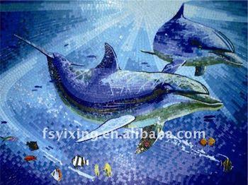 D piano pittura murale personalizzato bellezza d delfini di