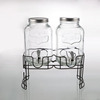Double Glass Water Dispenser with Metal Stand juice beverage dispenser