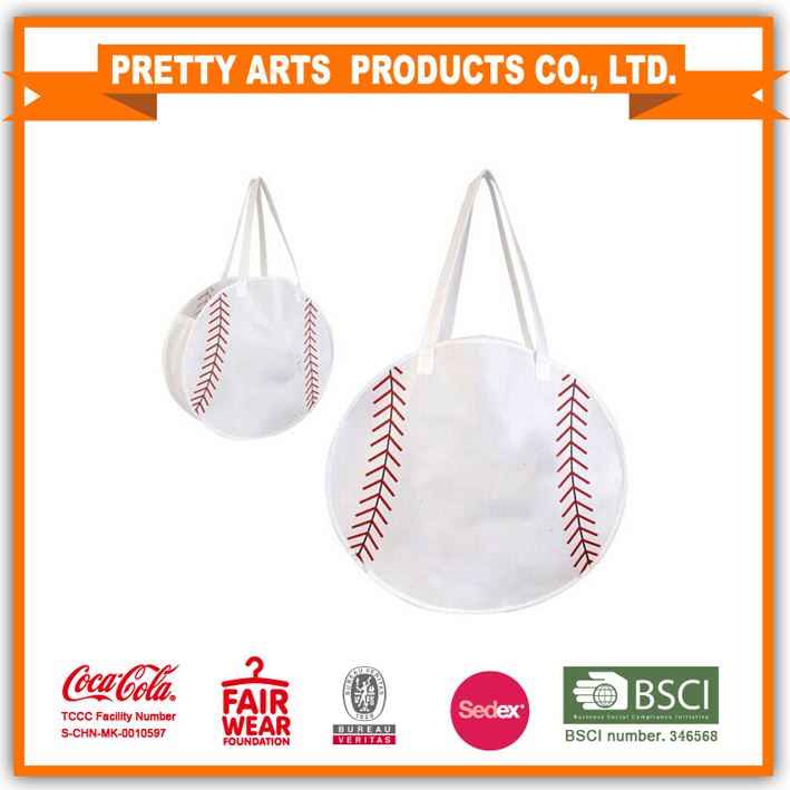 New design baseball & football shape cotton canvas tote bag
