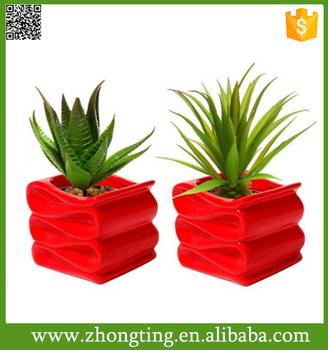 Modern Decorative Folded Design Mini Ceramic Red Plant Pots Flower