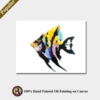 Handmade Colorful Tropical Fish Modern Wall Art Oil Paintings on Canvas