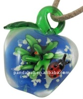 Handmade Lampwork Pendants, with Inner Flower and Laminous, Apple, Blue, about 34x43mm, hole: 8mm(LAMP-Y034-5)