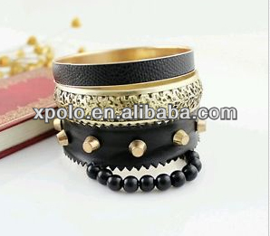 Wholesale China fashional alloy metal wrap | black leather | spike | beaded | bands set