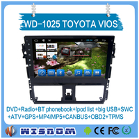 WISDOM Android 5.1.1 toyota vios/YARIS Sedan 2014 2015 2016 car dvd player gps navigation car radio stereo