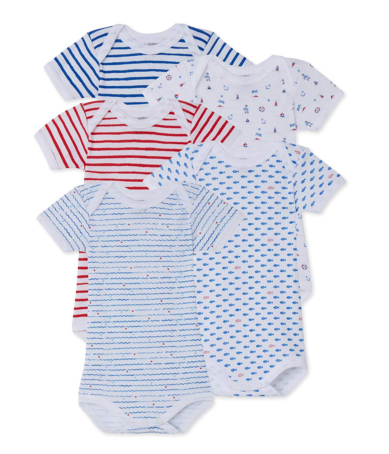 Get Quotations · Petit Bateau Baby Boys  5 Pack Short Sleeve Printed  Bodysuits f91a27f81