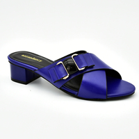 2019 leather shoes women italian new designs slipper shoes and sandal low heel royal blue ladies shoes 89460-9