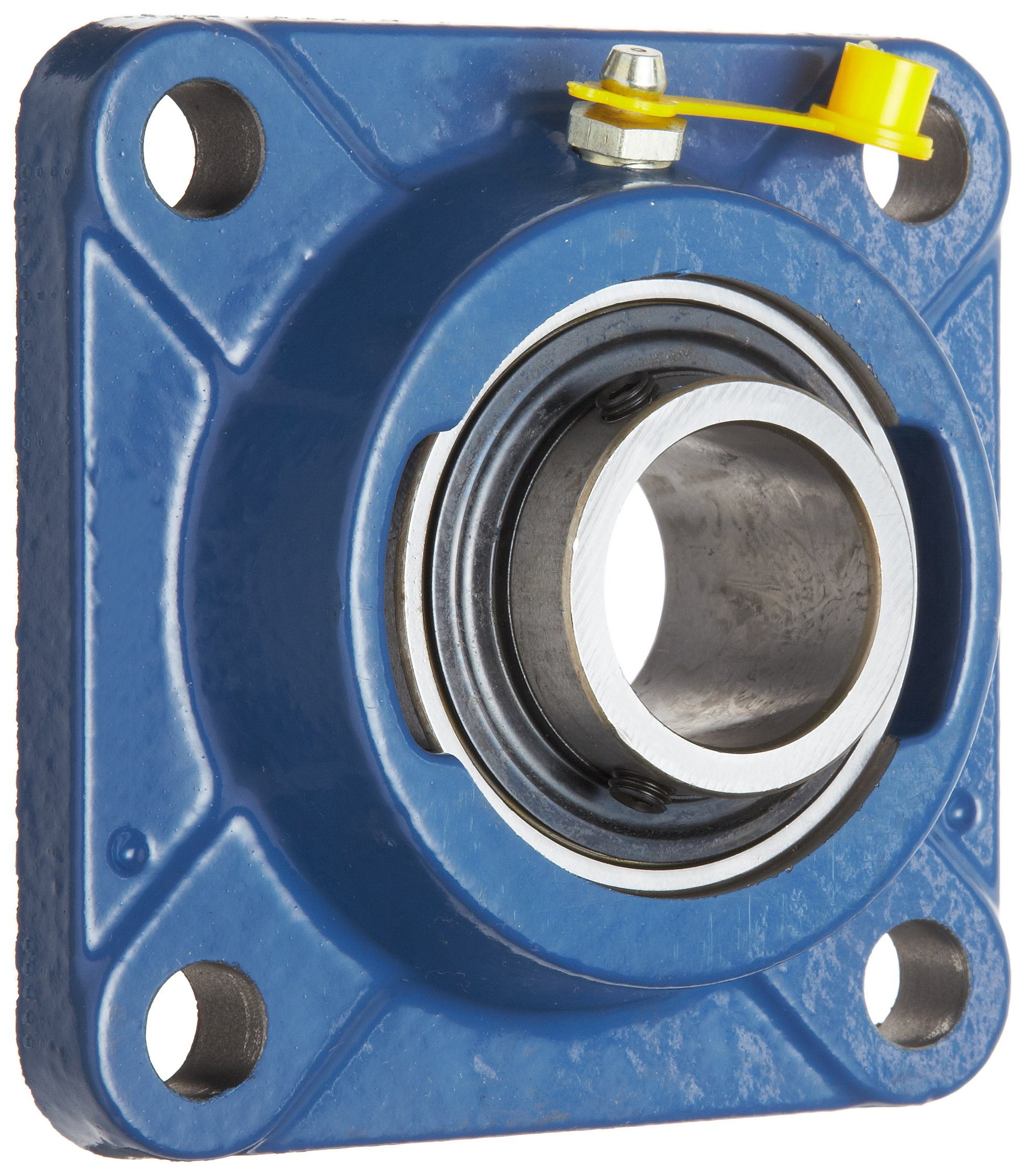 """SKF FY 1. TF Ball Bearing Flange Unit, 4 Bolts, Setscrew Locking, Regreasable, Contact and Flinger Seal, Cast Iron, Inch, 1"""" Bore, 2-3/4"""" Bolt Hole Spacing Width, 3150lbf Dynamic Load Capacity"""