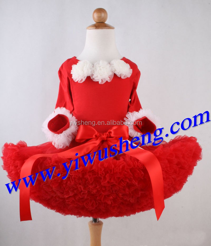 Wholesale christmas red pettiskirt set girl's party and birthday dresses children clothes