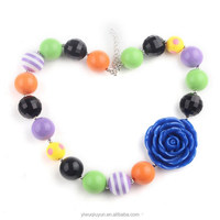 Wholesale child/kid/girl bead chunky bubblegum flower necklace for happy birthday gifts necklace in jewerly
