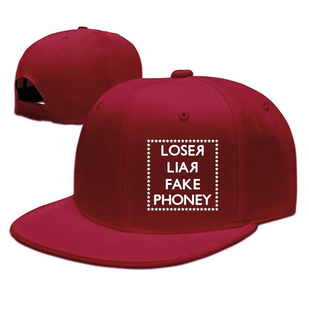 Get Quotations · KISSUU Loser Liar Fake Cotton Flat Bill Baseball Cap  Snapback Hat Unisex 3106bba5d141