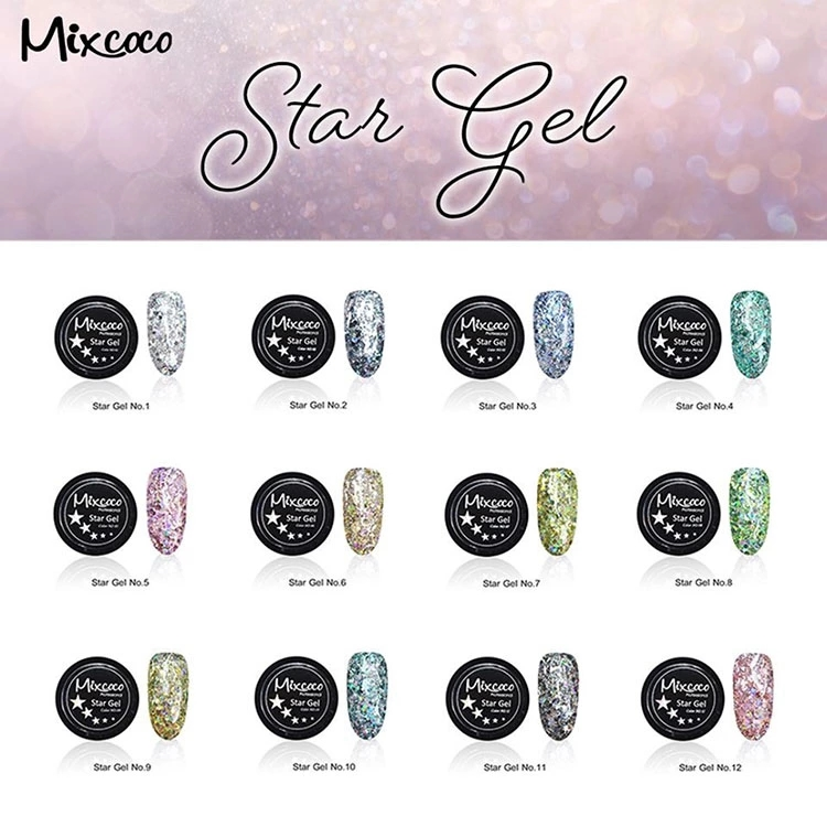 Mixcoco professional nail supplies new arrival star gel polish 12 colors big sequins glitter nails gel