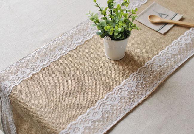 free shipping 5pcs cheap boda caminos de mesa burlap wedding vintage jute burlap lace table. Black Bedroom Furniture Sets. Home Design Ideas