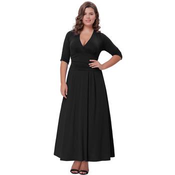 Hanna Nikole Womens Solid Color Plus Size 34 Sleeve V Neck Black
