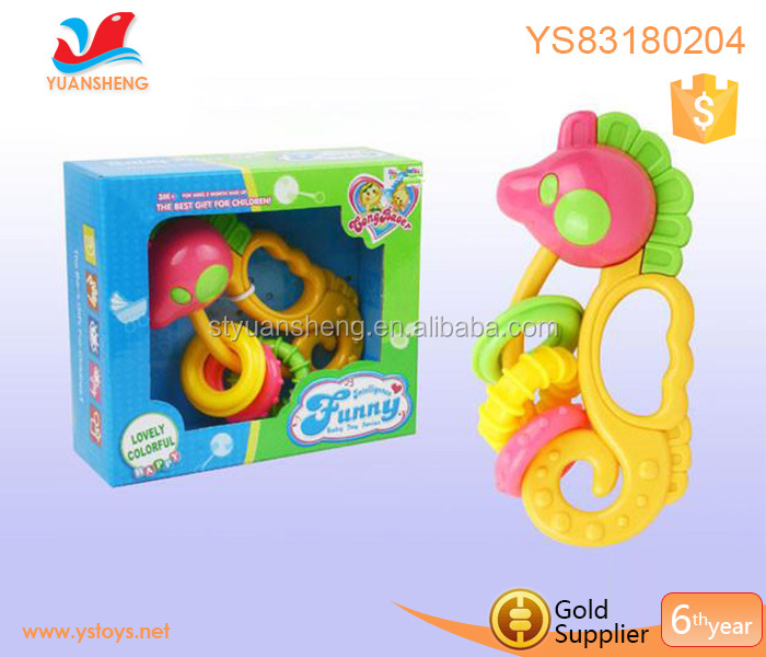 wholesale baby hand shake rattles baby bed hanger cartoon cute sea horse design music baby rattle toy