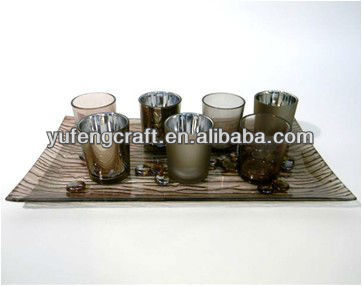 Autumn series glass candle holder sets YF0474