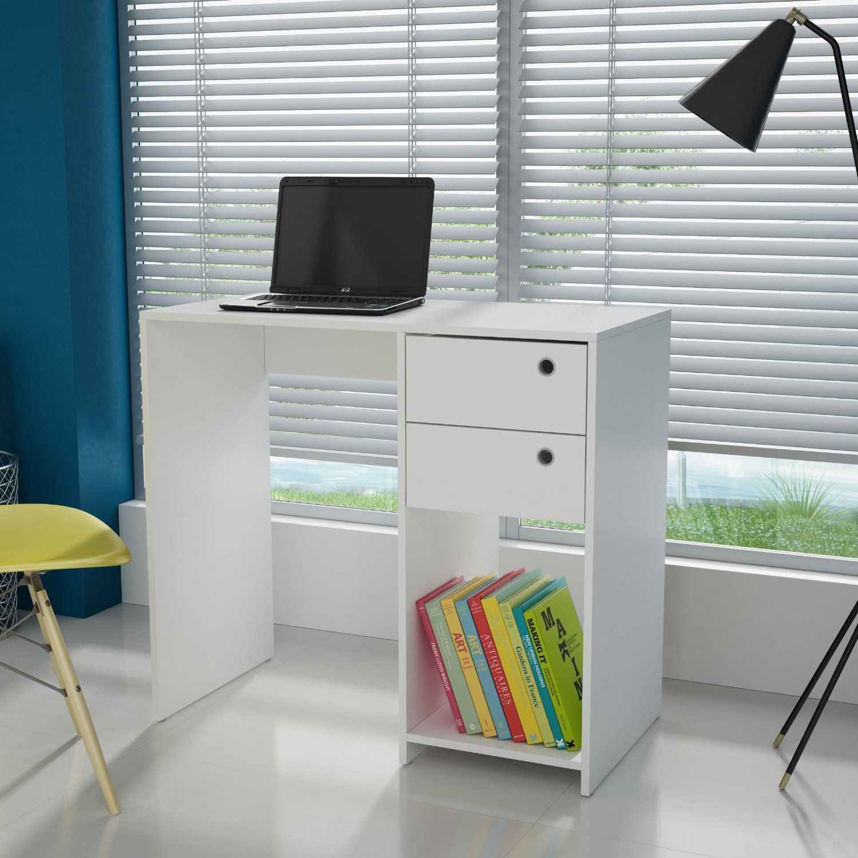 Comfort Pescara Writing Desk Large Modern Writing and Computer Desk 2 drawers,White