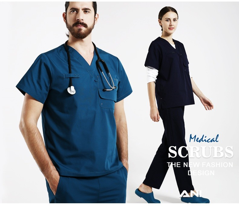 Hospital Doctor Short-sleeve Medical Clothing for male new design men nurse doctor uniform
