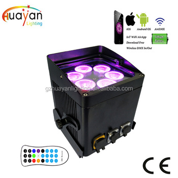 72W RGBAWUV 6in1 IP65 Outdoor Battery Powered LED Stage Par Lights