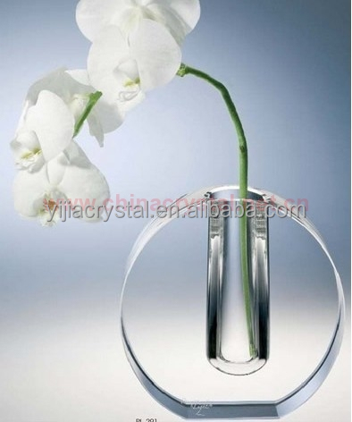 Engraved Round Wholesale Crystal Vase For Wedding Table Decoration