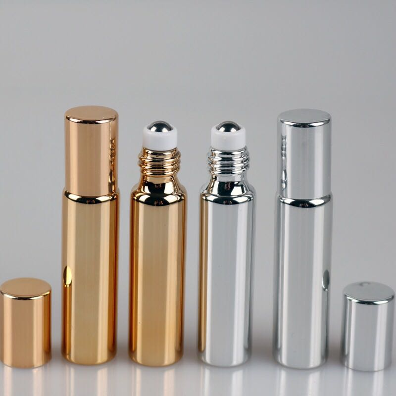 Eco-friendly hot sale 10ml Perfume Essential Oil Bottles gold Glass Roller Bottle Jars Vials With Pipette For Cosmetic