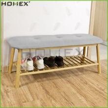 Bamboo Shoe Rack Storage Bench with Seat Cushion/Hallway Bedroom Upholstered Bench/Homex_FSC/BSCI Factory
