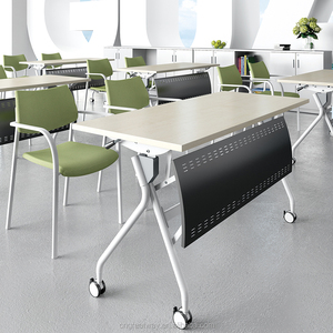 Office meeting Training folding table top splicing modular with wheels computer desk QM-13