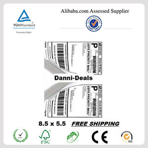 Premium self adhesive waterproof shipping half sheet labels paper for international mail PayPal,USPS