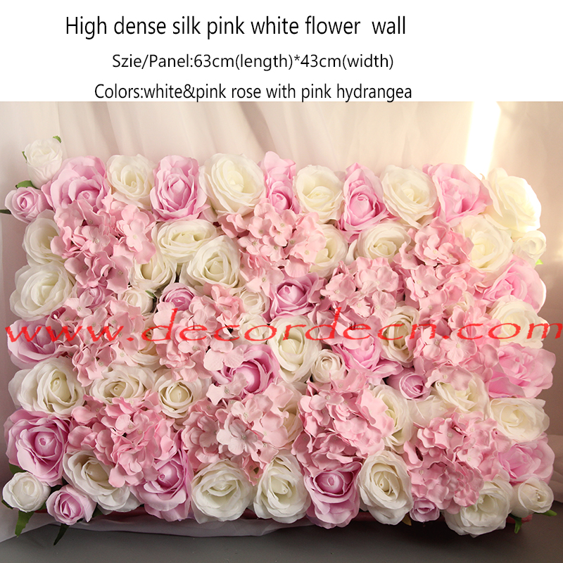 artificial pink white hanging flower wall with high quality dense