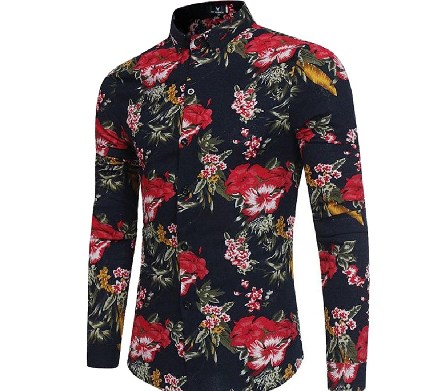 XTX Men Plus Size Casual Lapel Collar Long Sleeve Slim Fit Floral Printed Button Down Shirts