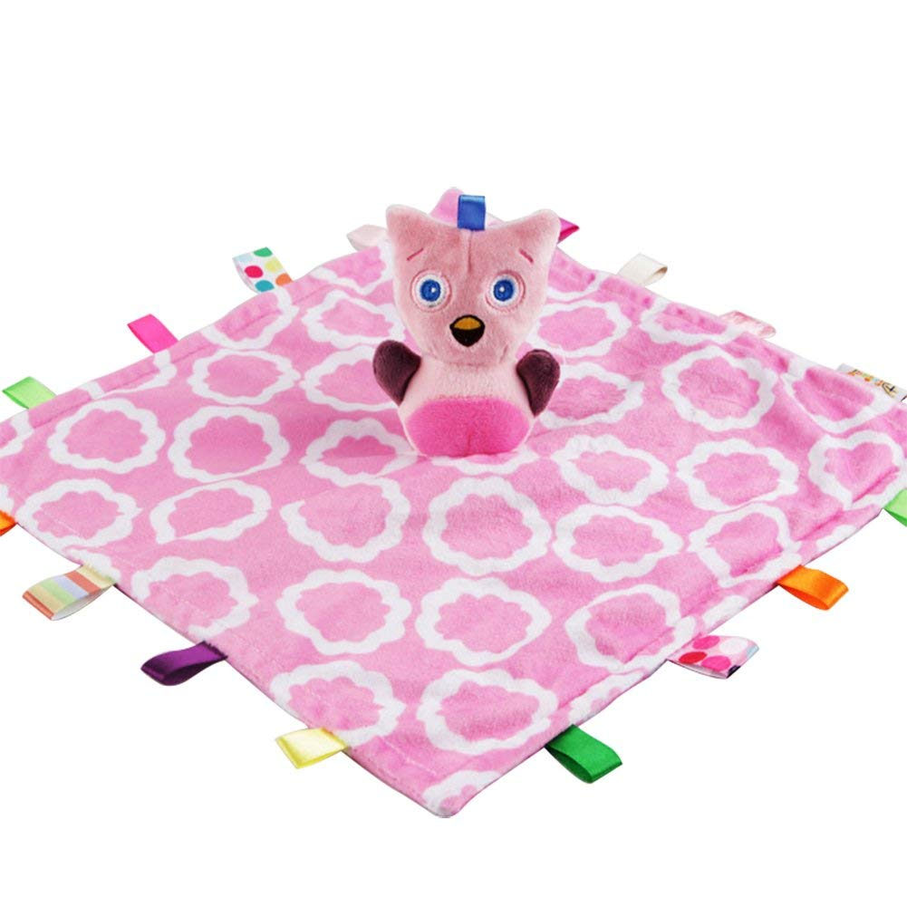 Inchant Taggies Security Blanket,Lovely Taggy Comforter Blanket Soft Touch Comforter Blanket With Taggies,Taggies Plush Toy For Baby Infant Tollder(Pink)