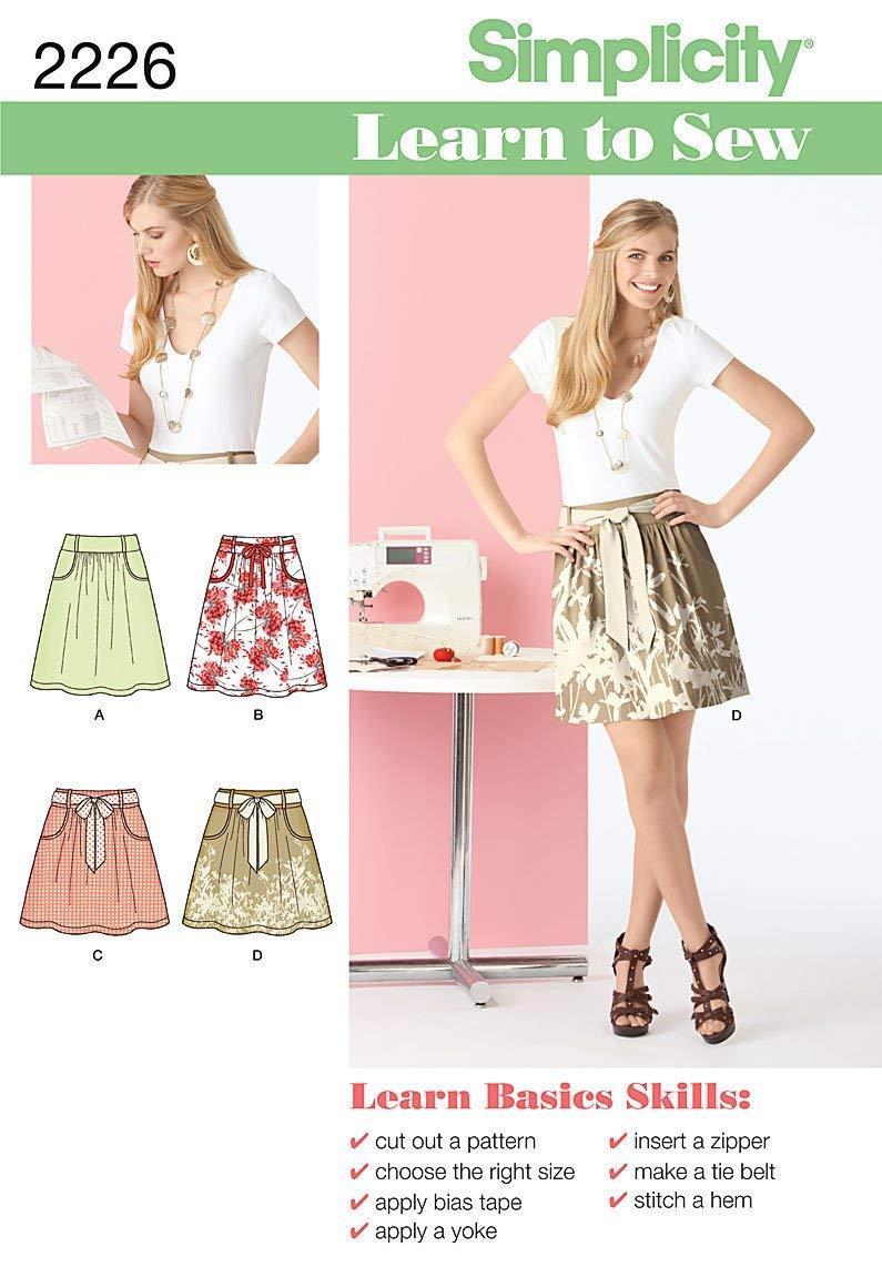 Simplicity Sewing Pattern 2226 Learn to Sew Misses' Skirt, Size A (6-8-10-12-14-16-18)