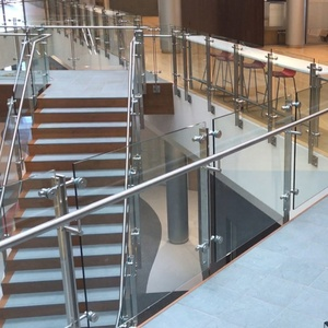 spigot supporting square tube plexiglass deck glass staircase steel fancy railing stainless banister