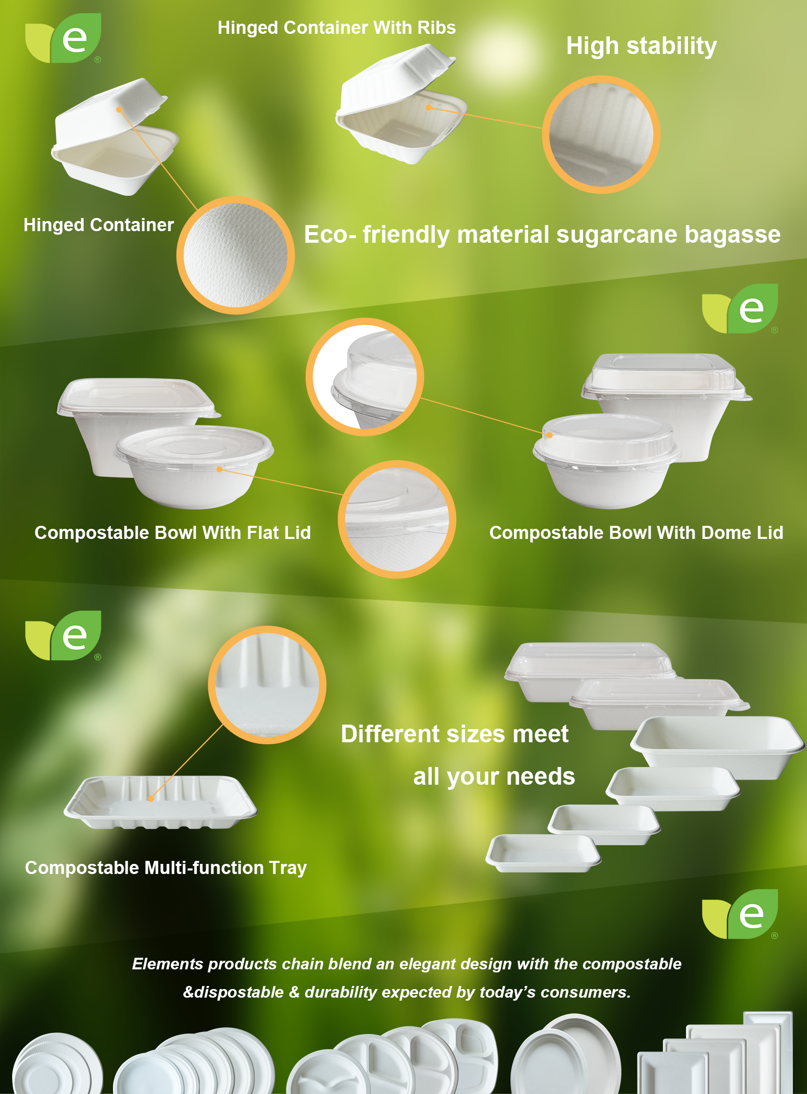 Biodegradable Fruit And Vegetable Packaging Trays With Recycle Sugarcane Lunch Trays