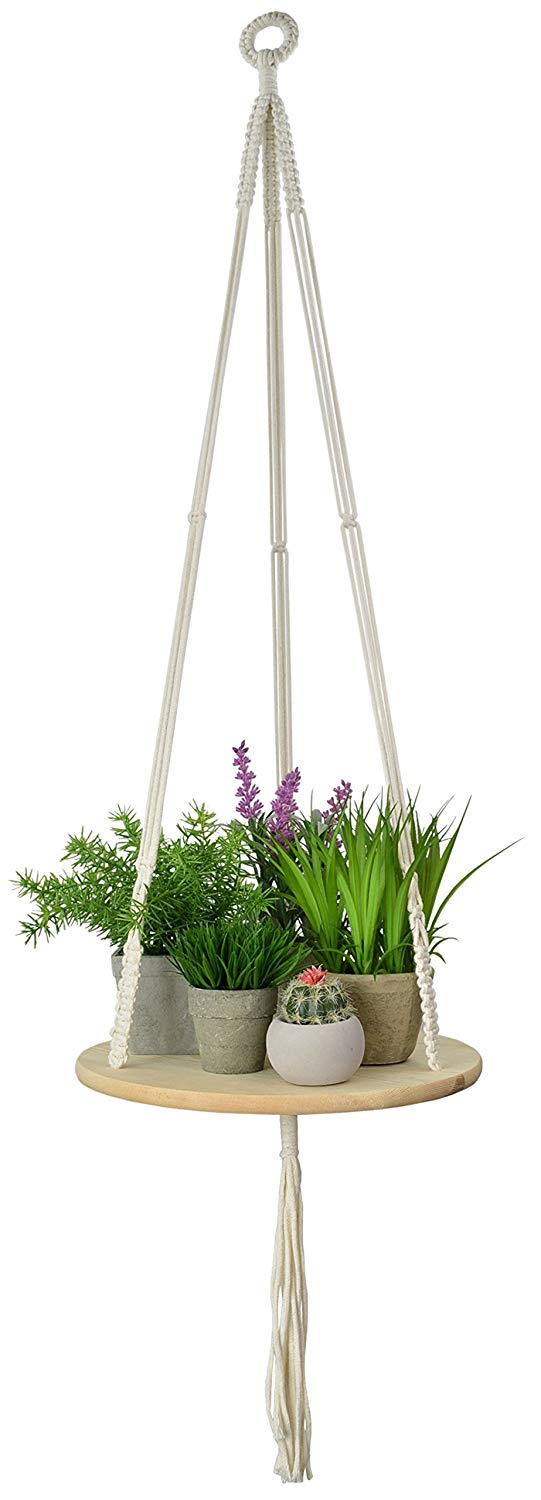 My Urban Crafts Macrame Plant Hanger - Indoor/Outdoor Hanging Shelf Planter - Boho Wall Decor for Succulents, Cactus, Air Plants & Crystal Display - 43 Inches (Round)