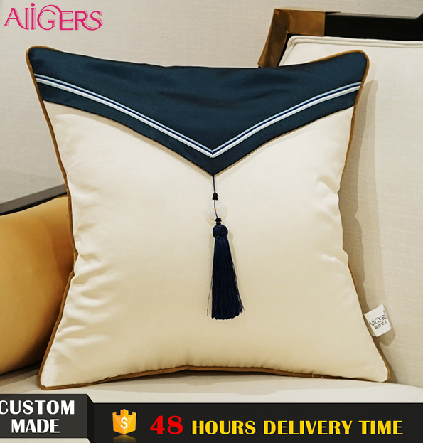 Avigers white tassel applique work latest design cushion cover 45*45cm for living room