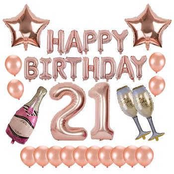 Happy 21st Birthday Images.21st Birthday Party Supplies Rose Gold Balloons Decorations Set With Happy Birthday Balloon Number 21 Foil Champagne Balloon Buy 21st Birthday Party