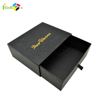 Custom Matt Black Small Sliding Slide Paper Drawer Box Packaging Cardboard Drawer Gift Paper Box with Puller Open